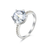 Women Engagement 925 Sterling Silver Silver Statement Ring with Diamond