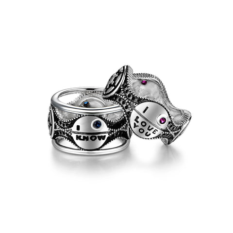 |I Love You| and |I Know| 925 Sterling Silver Couple Rings