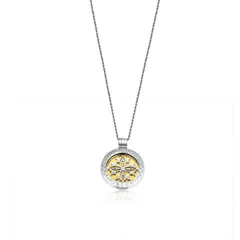 Engraved Flower Rose Gold Locket Necklaces (Coin Included)