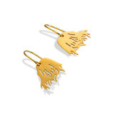 Messy Hair Girls 925 Sterling Silver Gold Plated Drop Earrings