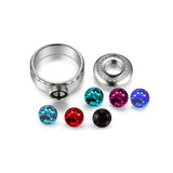 Simple Replaceable Austrian Crystal Gemstone Ring