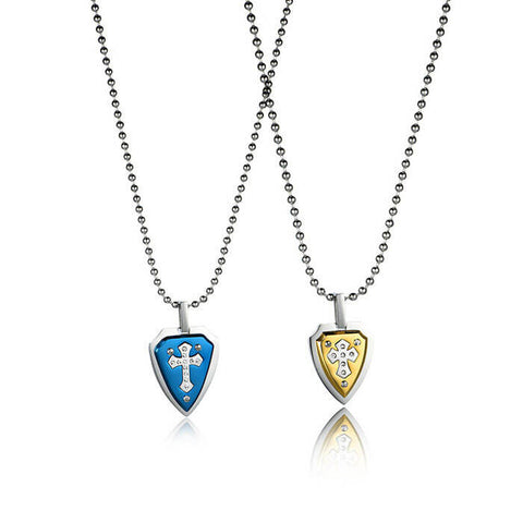 Personalized Shield Crisscross Titanium Steel Couple Necklaces