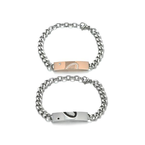 Personalized Heart-shaped Titanium Steel Silver Couple Bracelets