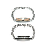 Letter Design Titanium Steel Rose Gold attractive Couple Bracelets with Diamond