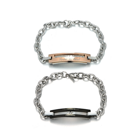 Personalized Titanium Steel Rose Gold attractive Couple Bracelets with Diamond