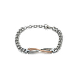Irregular Geometry Titanium steel Silver Couple Link Bracelets