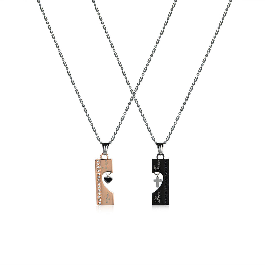 Mutual Affinity Titanium Steel Couple Necklaces