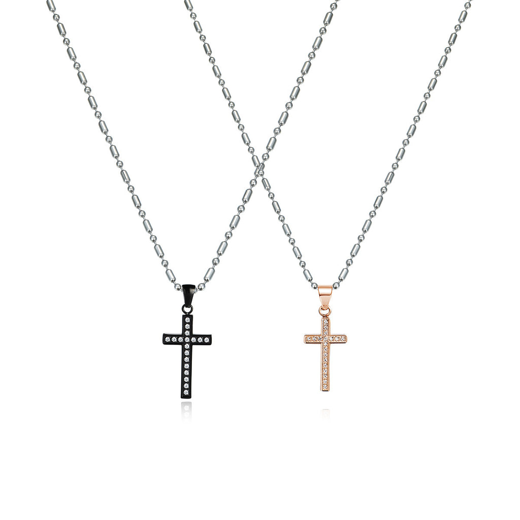 Love Cross Series Rhinestone Inlaid Titanium Steel Couple Necklaces