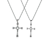 Fold the Cross Titanium Steel Couple Necklaces