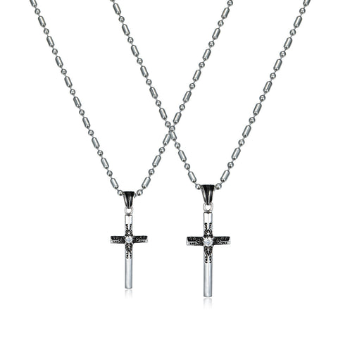Love Cross Series Special Pattern Titanium Steel Couple Necklaces
