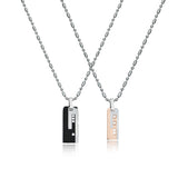 Rhinestone Strips Engraved Titanium Steel Couple Necklaces