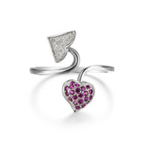 True Love Double Hearts Silver Rings