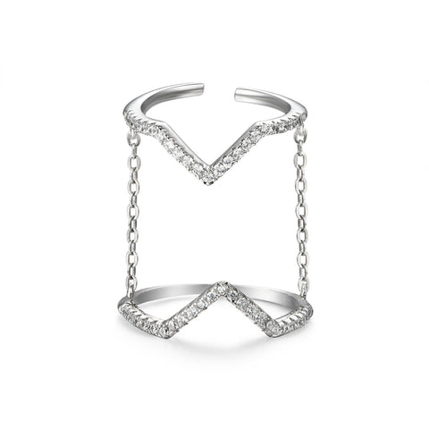 V for Victory Silver Ring