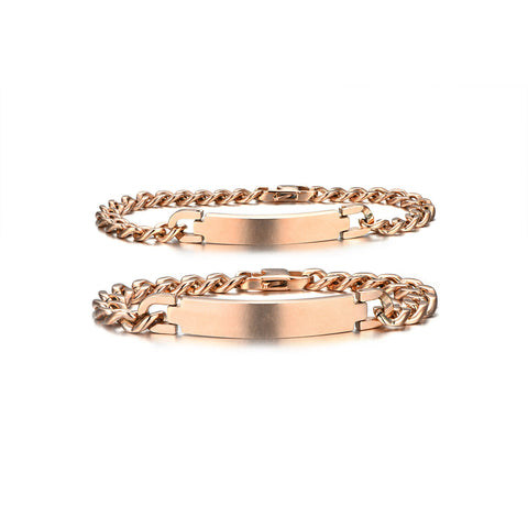 Personalized His and Hers Rose Golden Couple Bracelets