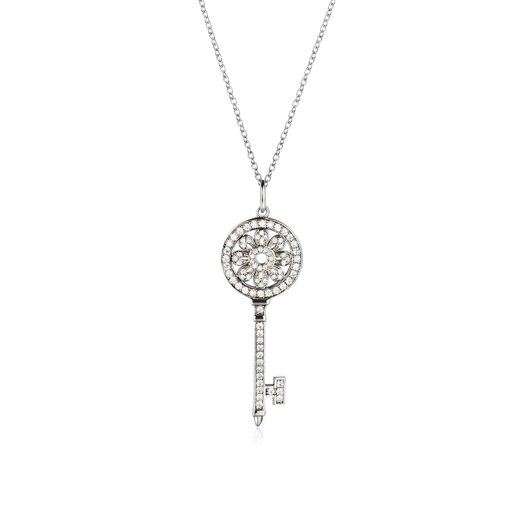 925 Sterling Silver Key to Heart Pendant Necklaces