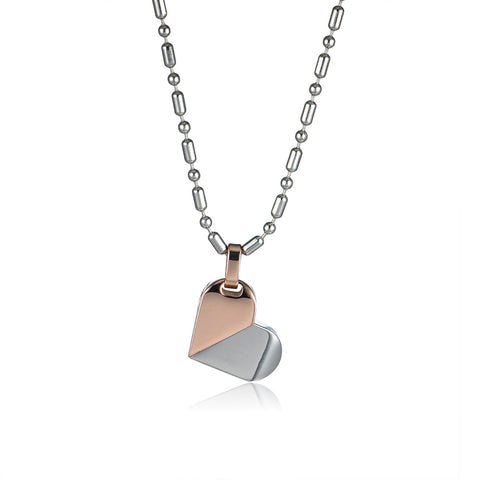 Color Change Heart Titanium Steel Heart Pendant Necklace