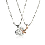 Joint Heart & Butterfly Titanium Steel Couple Necklaces