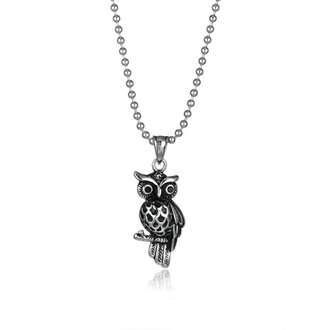 Steel Owl Titanium Steel Pendant Necklace