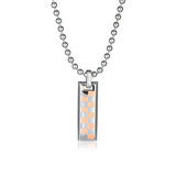 Personalized Grid Pattern Strip Titanium Steel Couple Necklaces
