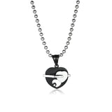 Hollowed Heart-shaped Titanium Steel Couple Necklaces