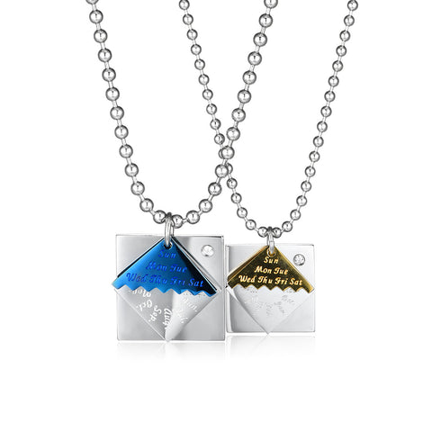 Geometry Triangle & Diamond Overlapping Titanium Steel Couple Necklaces