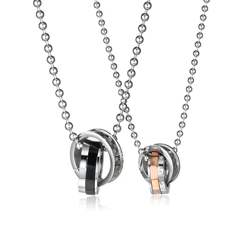 Combination Ring Series Grid Pattern Black and Champagne Rings Titanium Steel Couple Necklaces