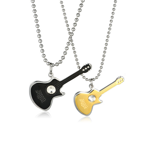Contracted the Violin Titanium Steel Couple Necklaces