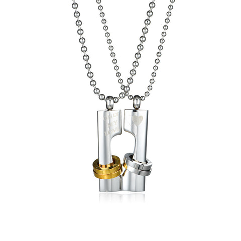 Couple of Cylindrical Titanium Steel Couple Necklaces