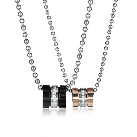 Tube Pattern Titanium Steel Couple Necklaces