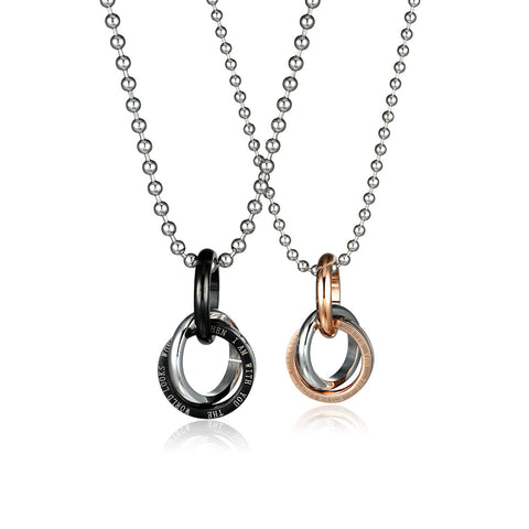 Combination Ring Series Love Words Engraved Titanium Steel Couple Necklaces