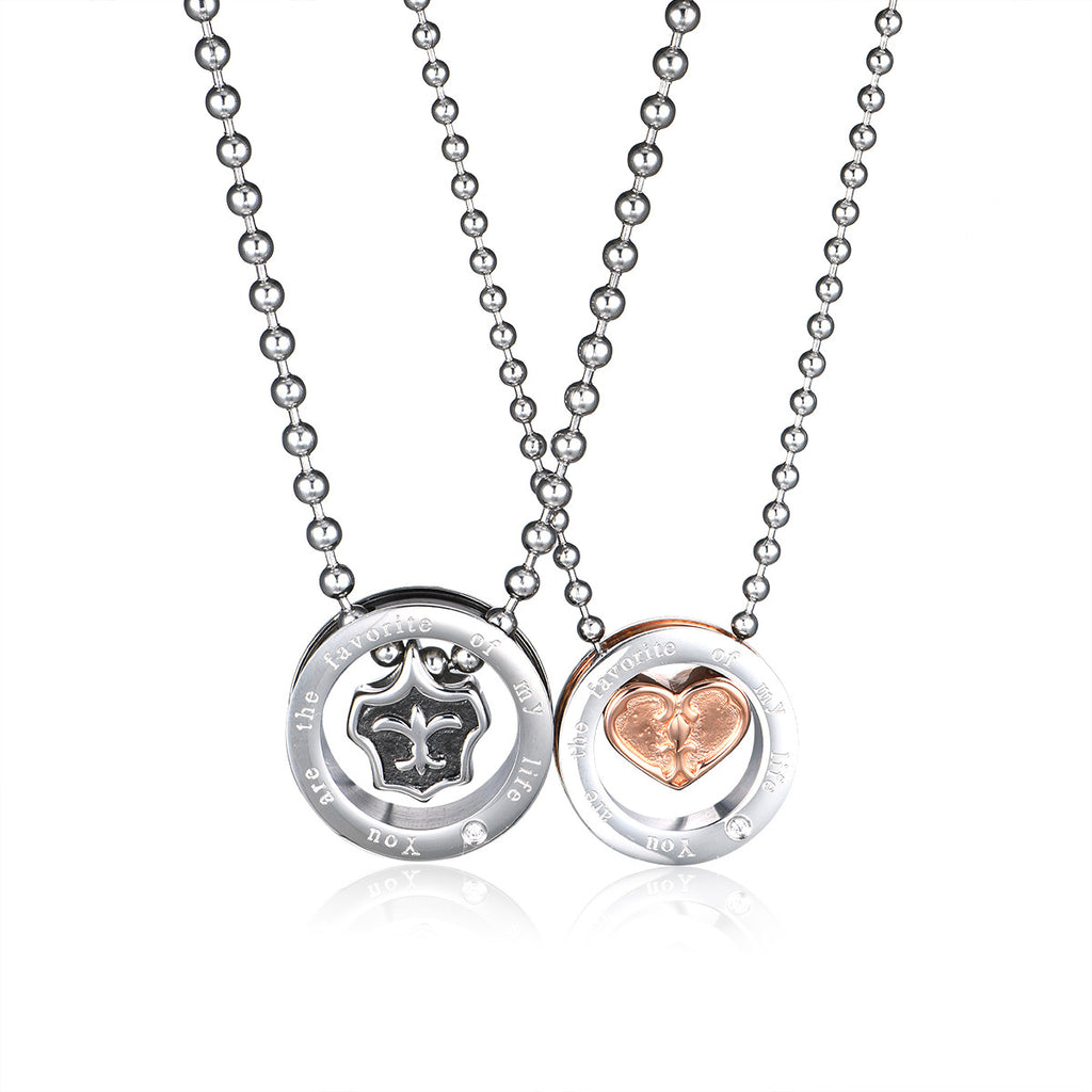 Surrounded by Love Titanium Steel Couple Necklaces