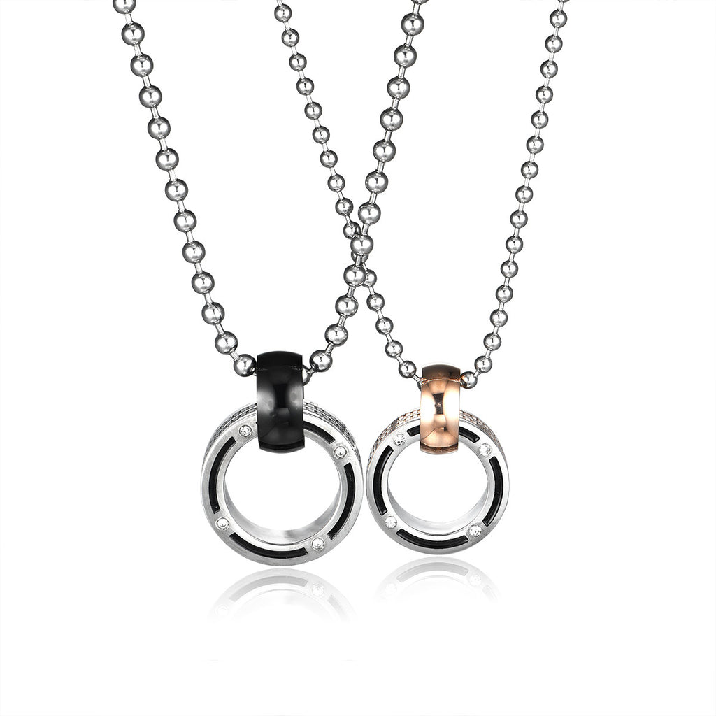 Combination Ring Series Rhinestone Inlaid Titanium Steel Couple Necklaces