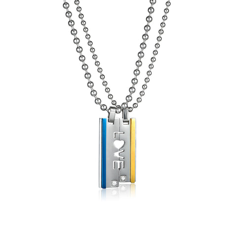 Letter LOVE Titanium Steel Couple Necklaces