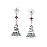 Hollow Christmas Tree & Star 925 Sterling Silver Statement Earrings