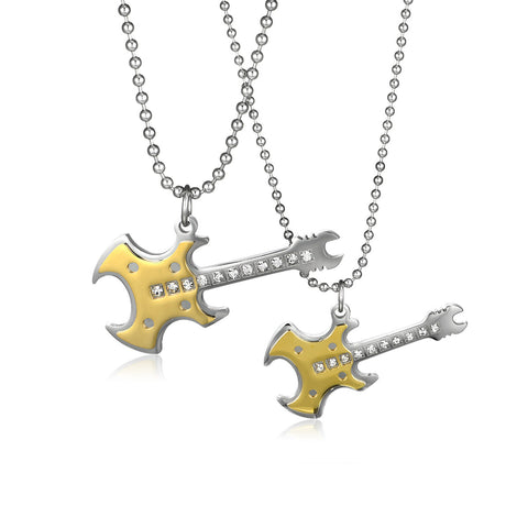 Black Series Bass Titanium Steel Couple Necklaces