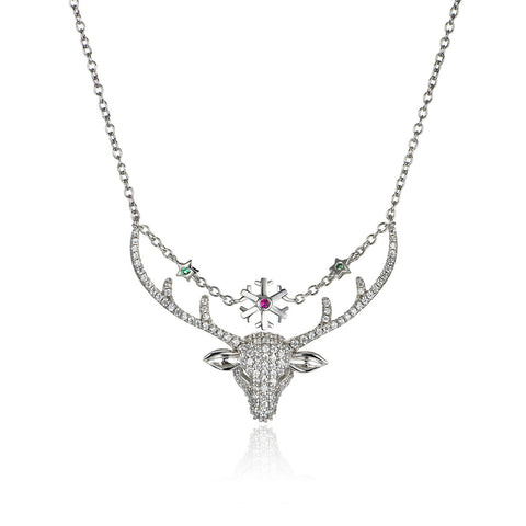 925 Sterling Silver Christmas Deer & Snowflake Pendant Necklace