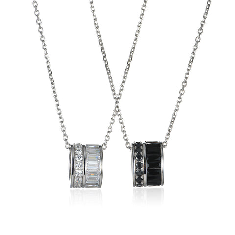Sterling Silver Matching Couples Pendant Necklace Set
