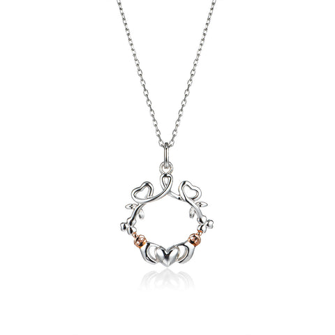 925 Sterling Silver Vine Claddagh Pendant Necklace