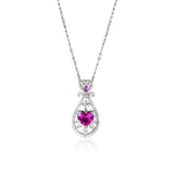 925 Sterling Silver Heart CZ Teardrop Shaped Hollow Necklace