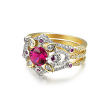Flower Shape Round Cut Purple Cubic Zirconia 925 Sterling Silver Ring