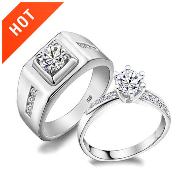 Love Crystal Stone Silver Engagement Couple Rings