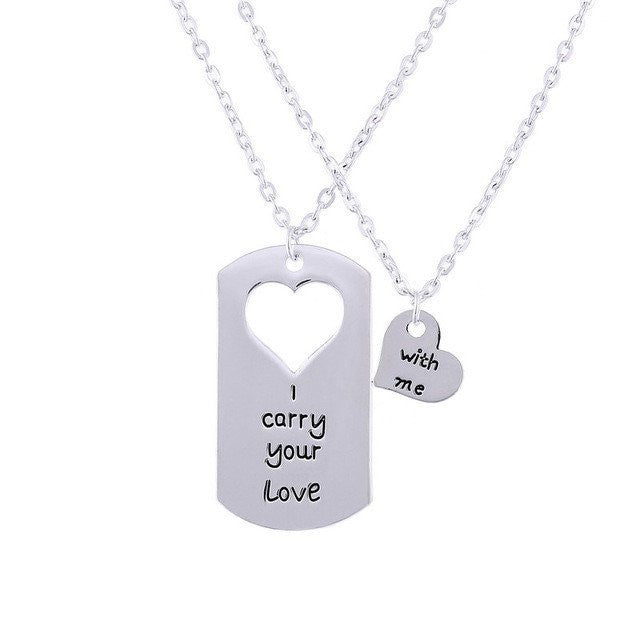 """I Carry Your Love with Me"" Relationship Couple Necklaces"