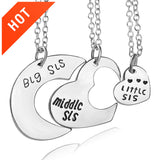 Family Jewelry Gift Big Sis Middle Sis Little Sis Love Heart Charm Pendant Necklace Set for Sister 3pcs