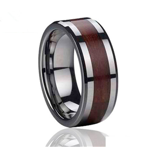 Personalized Wood Tungsten Ring for Men
