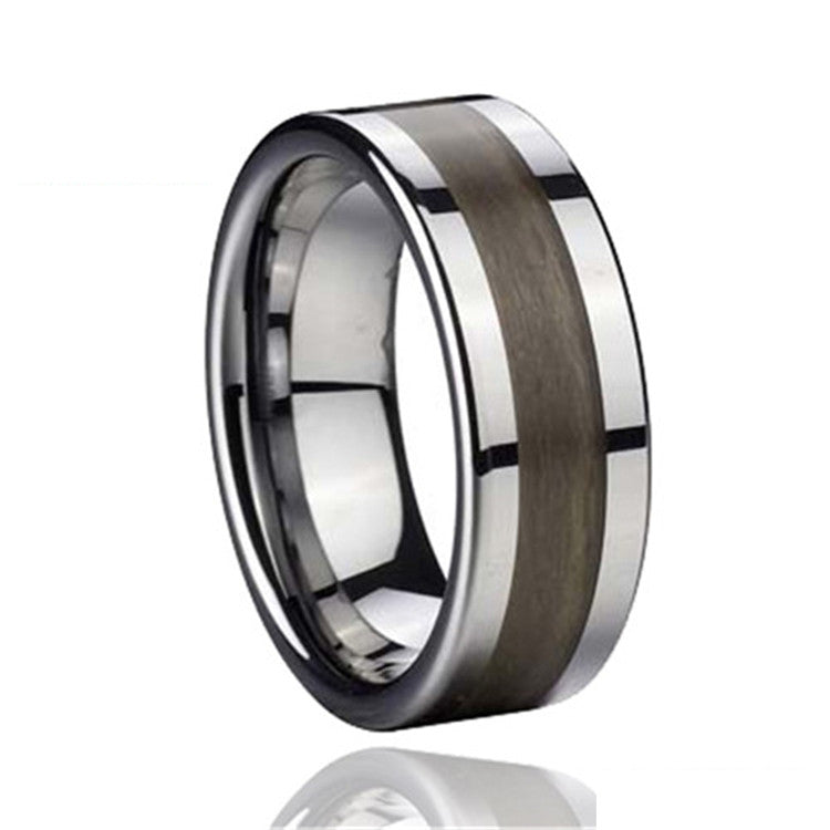 Tungsten Ring with Wood Inlay