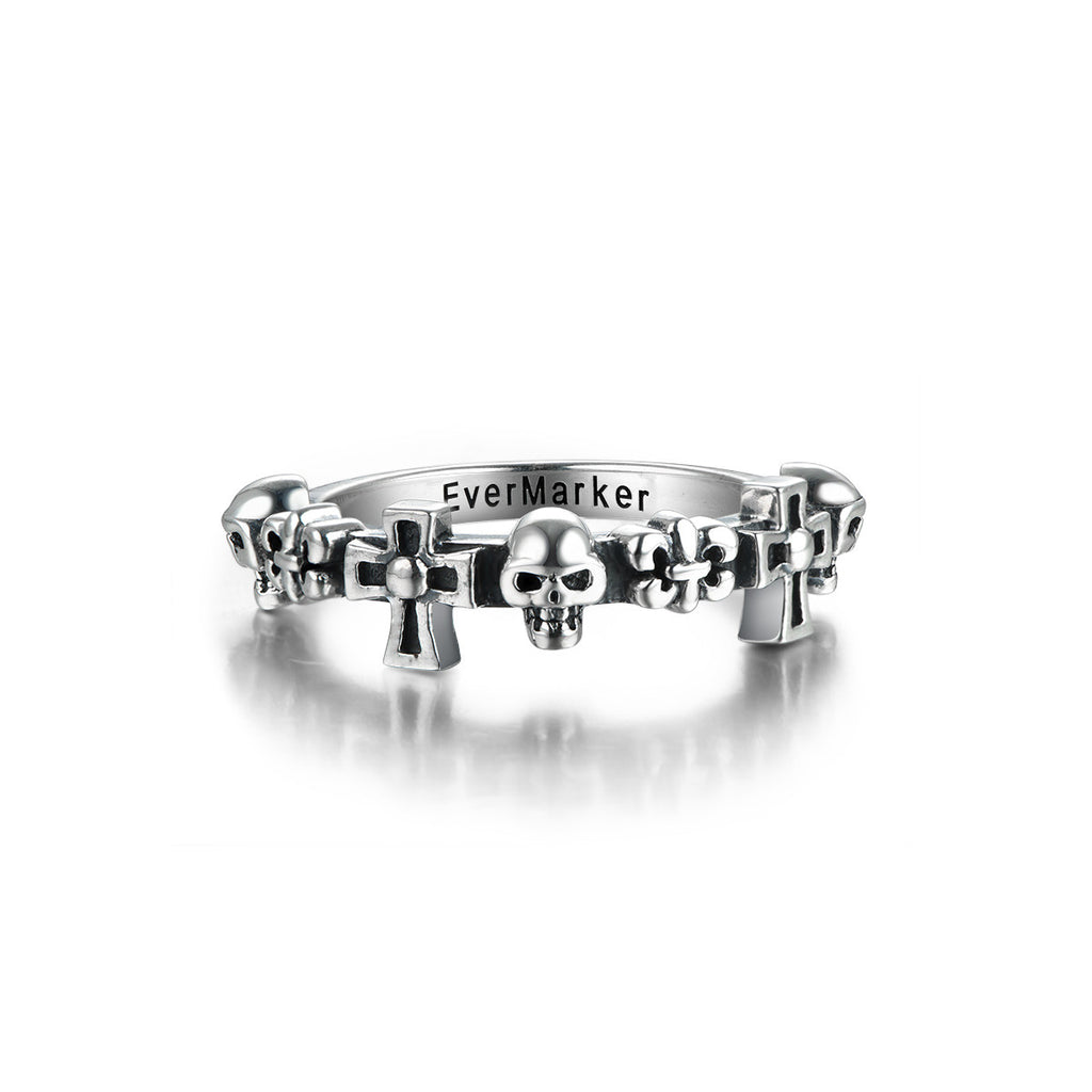 Punk Style Skull Shape 925 Sterling Silver Ring