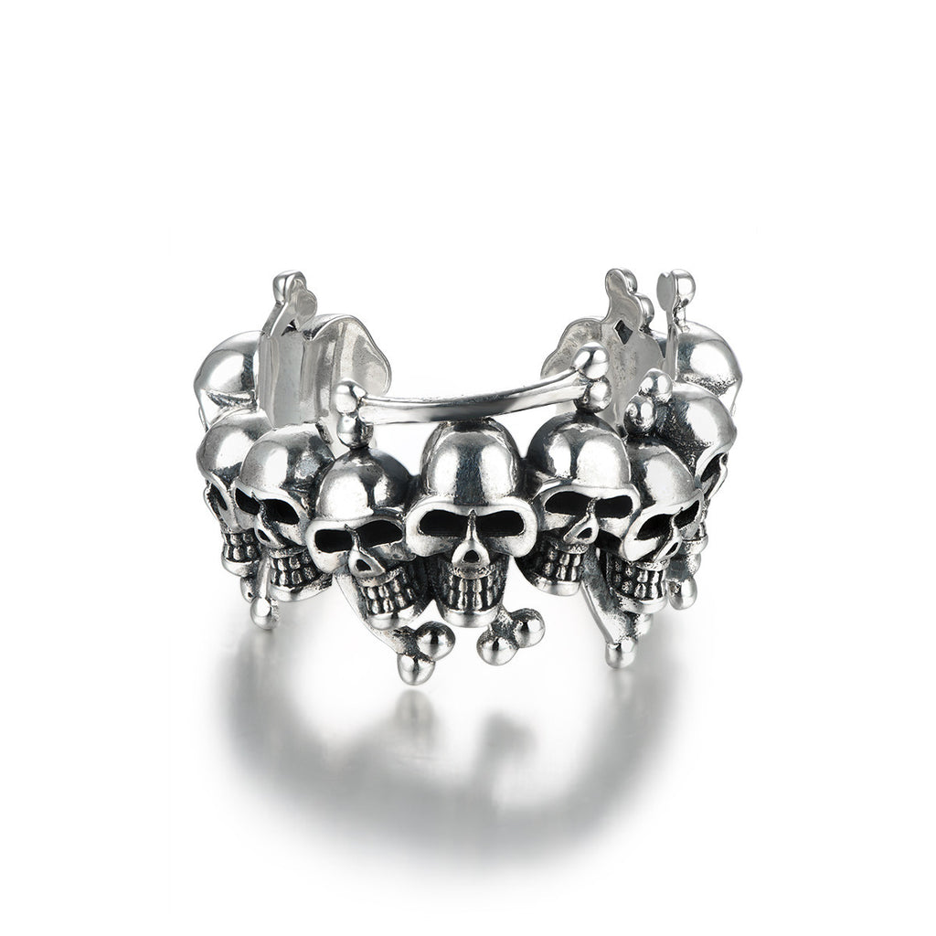High Fashion Skull Shape 925 Sterling Silver Opening Ring