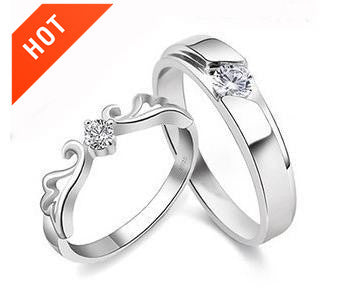 925 Sterling Silver Platinum Plated Couple Rings