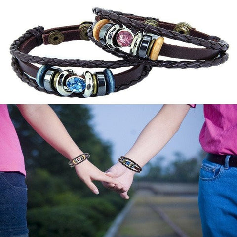 Braided Leather Crystal Couples Bracelets