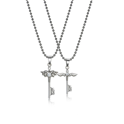 Couple Angel Pendant Necklace Set (Color: White)
